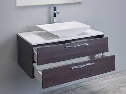 modern 39 inch grey oak modern bathroom vanity set with overmount