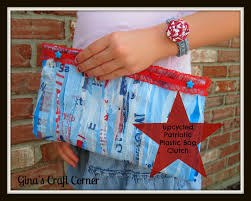 Upcycled Patriotic Clutch Made From Fused Plastic Bags