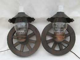 western wagon wheel vintage wood wall light sconces pair sconce ls