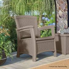 Suncast Outdoor Patio Furniture by Suncast Elements Club Chair With Storage Dark Taupe Limited
