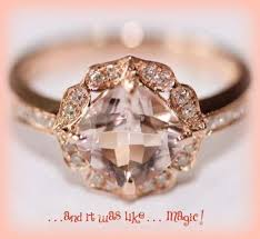 Vintage Engagement Ring Cushion Cut Morganite In 14k Rose Gold Diamond Halo Setting On Etsy