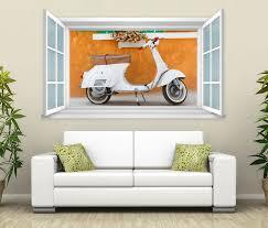 3d wandtattoo fenster retro mofa bike wand aufkleber wanddurchbruch wandbild wohnzimmer 11bd1290 wandtattoos und leinwandbilder günstig