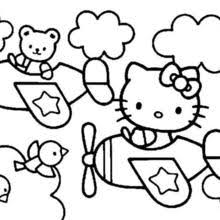 Hello Kitty Eating Popcorns With Friends And Coloring Page