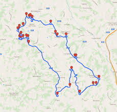 Map With Cycling Route 8 Castles Around Montespertoli