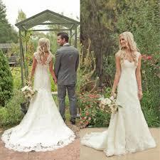 Western Style Wedding Dresses 2015 Elegant Country Dress Ivory V Neck