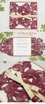 StylishWedd Elegant Burgundy Laser Cut Wedding Invitations SWWS018