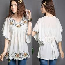 2018 Hot Sale Vintage 70s Mexican Ethnic Floral EMBROIDERED Hippie Blouses Women Clothing Summer Tops Tunic