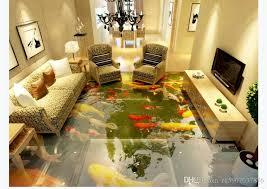 großhandel kundenspezifische 3d foto selbstklebende wasserdichte boden wandbild tapete aufkleber wohnzimmer 3d chinesischen stil boden malerei