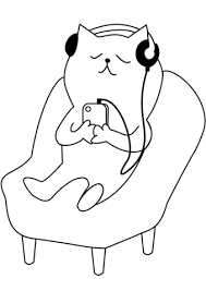Click To See Printable Version Of Cat Listening Music Coloring Page