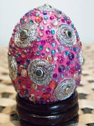 Decorative Foam Easter Eggs With Tissue Paper Mache Coating And Rhinestones String Spiral Designs