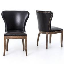 Richmond Black Leather Wingback Dining Chair With Weathered Oak ... Wingback Ding Chair White And Gray Roundhill Button Tufted Solid Wood Hostess Chairs With Amazoncom Lazymoon Beige Pattern New Pacific Direct Inc Aaron Upholstered Parson Nailhead Trim With Msp Design Show How To Recover A Richmond Vintage Tan Leather Zin Home Nail Head Accent Ramalanco Homespot Archie Pu Velvet Set Of 2