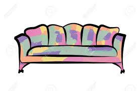 multicolor spotted sofa in syle pop für moderne wohnzimmer empfang oder in der lounge einzelmöbel objektdesign vektor illustration