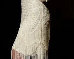 Ivory Beaded Vintage Flapper 1920s Wedding DressThe Great Gatsby Downton Abbey