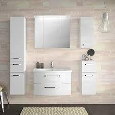 lomadox badezimmermöbel set weiß hochglanz keramik