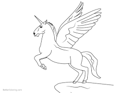 DOWNLOAD Realistic Winged Unicorn Coloring Pages