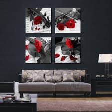 4 Pieces Combinated Guitar Rose Flower Canvas Painting Romantic Modern Home Decor Music Love Wall Picture