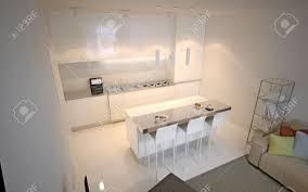 scandinavian küchenstudio luxus küche mit insel bar und stühlen 3d übertragen