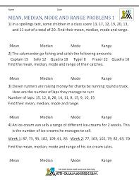 mode median and range median mode range worksheets