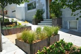 Corrugated metal planter box landscape farmhouse with metal