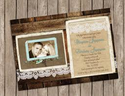 Rustic Wood And Lace Wedding Invitation With Vintage Frame