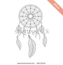 Black Line Dream Catcher Isolated On White Background Decorative Element Traced By Hand From