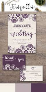 Purple Wedding Invitation Printable Floral Suite Modern Rustic