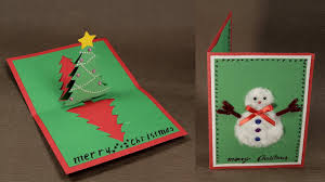 Types Of Christmas Trees With Pictures by How To Make Diy Pop Up Christmas Card With Tree And Snowman Youtube
