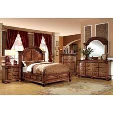 bedroom sets furniture of america traditional style 4 antique tobacco oak