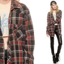 Pearl Snap Shirt Red Black Plaid Oversized Flannel 90s Grunge Western Checkered Button Up 1990s