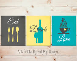 Teal Gray Kitchen Decor Modern Print Set Eat Drink Love Fork Spoon Knife Dining Room