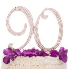 Ella Celebration 90 Cake Topper For 90th Birthday Rhinestone Number Party Supplies Decoration Ideas Rose Gold