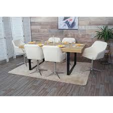 6x esszimmerstuhl hwc f82 küchenstuhl lehnstuhl höhenverstellbar drehmechanismus samt creme weiß chromfuß