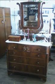Tiger Oak Dresser With Swivel Mirror by Furniture Vintage Treasures