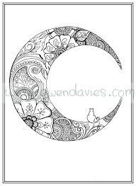 Adult Colouring In PDF Download Moon Cat Calming Mindfulness Henna Zen Mandalas Flower Anti Stress Flowers