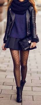 Winter Date Night Outfit Mini Skirt Tights Booties Leather Jacket Perfect