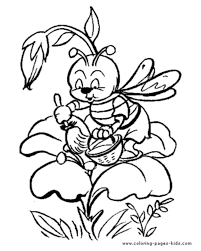 Cartoon Bee Collecting Nectar From Flower A Page To Print Out And Color