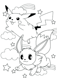 Ash And Pikachu Coloring Pages Cute Printable Baby Colouring Online Mega Game