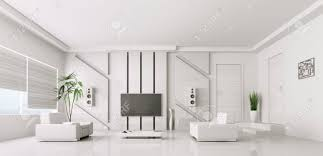 Interior Modern White Living Room With Plasma Tv 3d Render