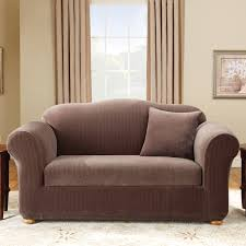 Stretch Suede Wing Chair Recliner Slipcover by Sure Fit Stretch Pinstripe T Cushion Two Piece Loveseat Slipcover