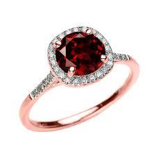 Dainty 10k Rose Gold Halo Diamond and Garnet Centerstone Engagement