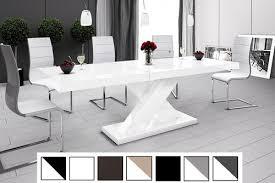 details zu design esstisch tisch he 888 weiß hochglanz ausziehbar 160 bis 210 cm