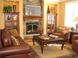 brown sofa and antique living table for country style living room