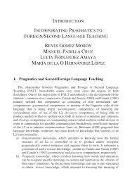 PDF Incorporating Pragmatics To Foreign And Second Language Teaching