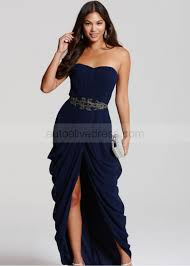 navy blue chiffon beads sweetheart neckline bandeau long prom dress