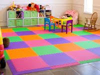 modern designer playroom floor using softtiles purple pink and