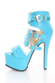neon blue strappy platform high heels faux leather