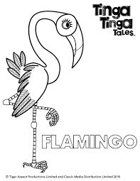 Tinga Tales Black And White Picture Of Flamingo