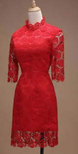 womens thick lace decorated evening dress red u2013 unomatch shop