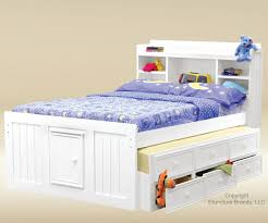 Good Trading White finish full size captains trundle bed Kids