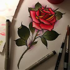 100 Lignet Rose Tattoo Of Rose Flower Colour Neotraditional New School
